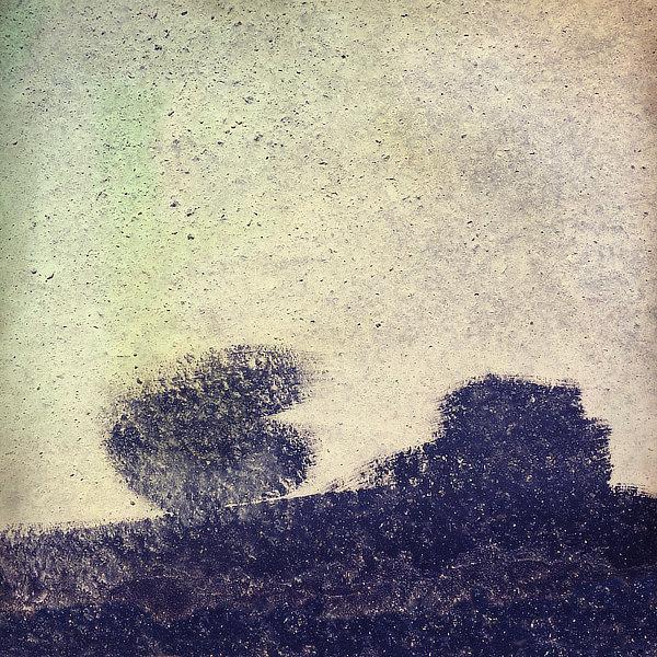 Výtvarná fotografie cyklus Krajiny imaginace. Silueta stromu a domu na oprýskané zdi.