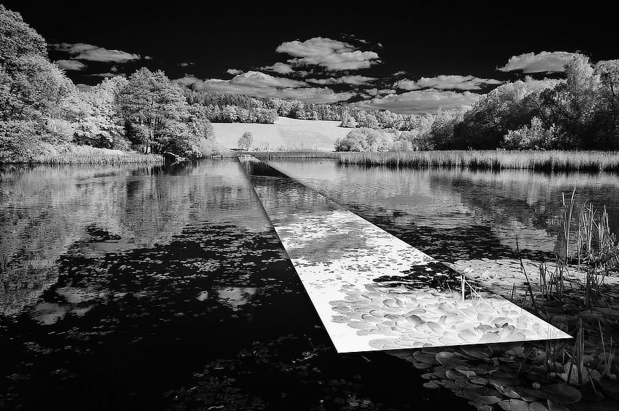 Anatomie krajiny. Část negativně převráceného obrazu působí jako zrcadlo umístěné v krajině. Rybník ve Strážovicch na Neveklovsku.